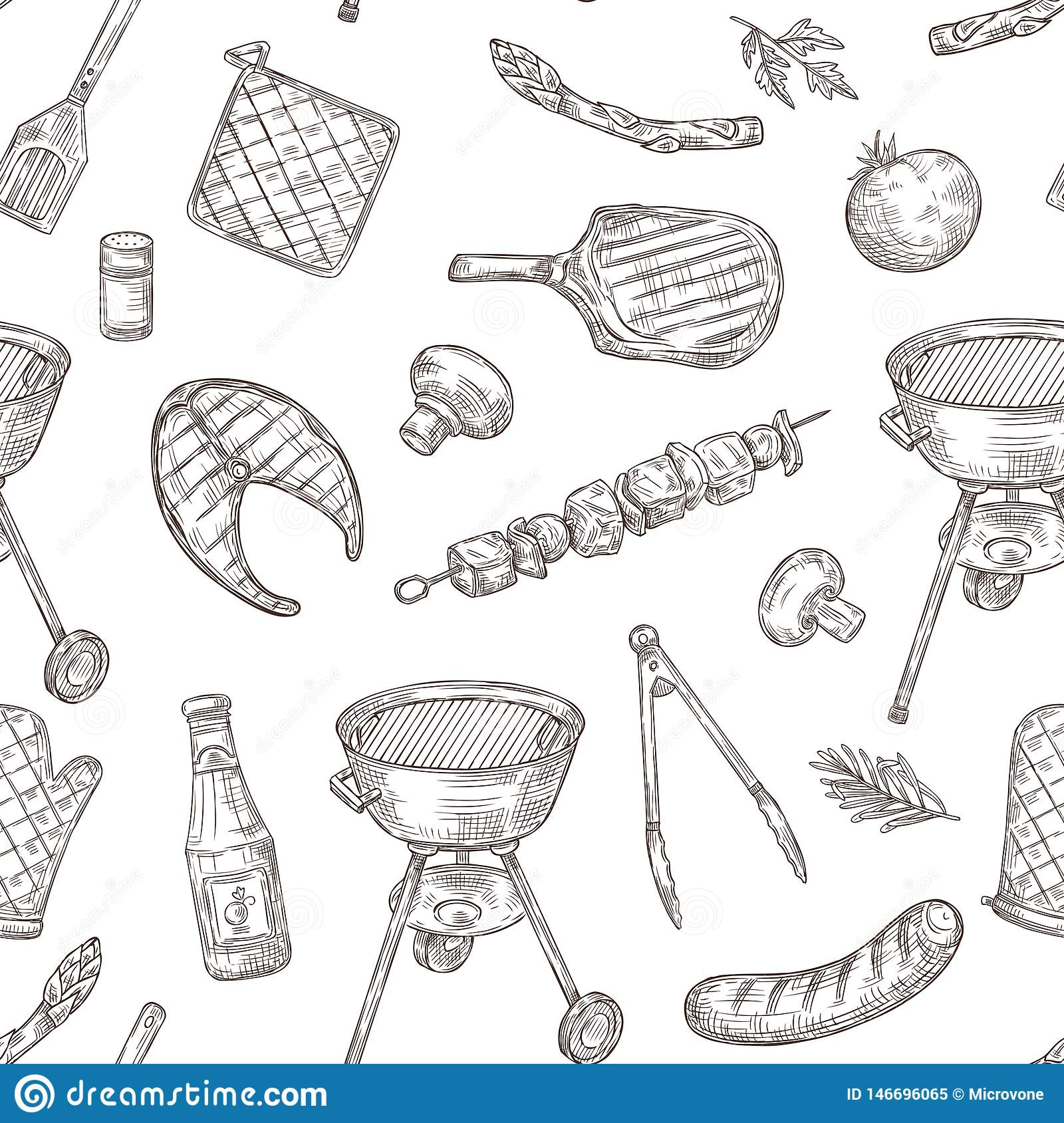 Barbecue seamless pattern. Sketch barbeque chicken grill vegetables fried steak meat picnic party vintage bbq food