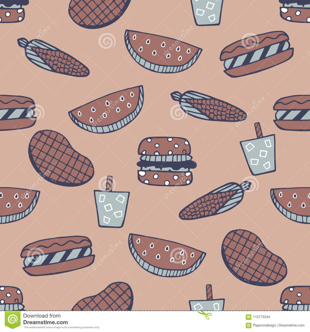 Barbecue Seamless Pattern. Summer cookout with bbq doodles repeat pattern
