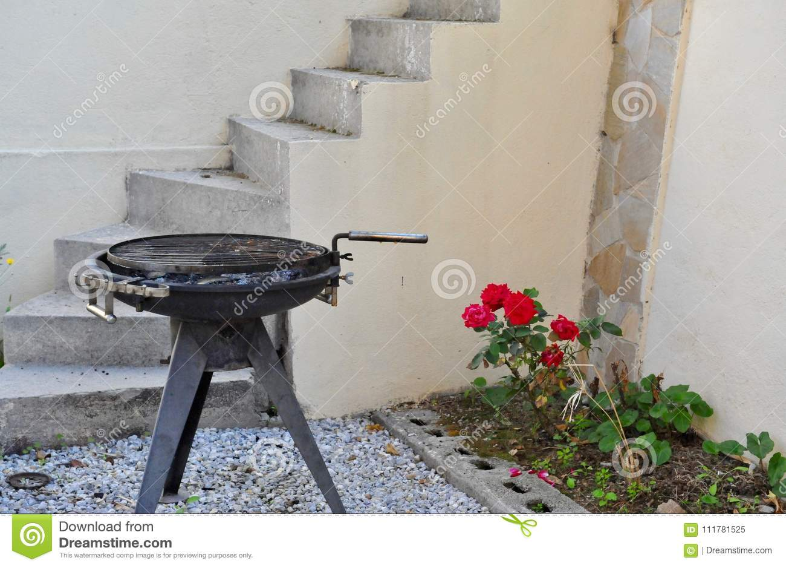 Barbecue on backyard
