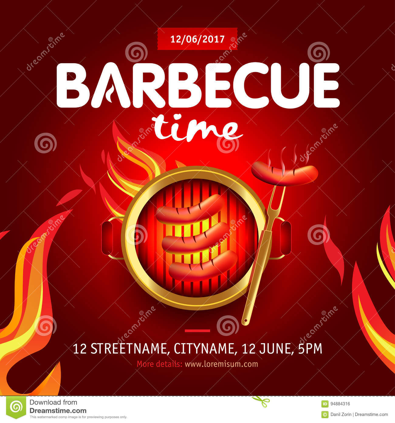 barbecue time party design with fire on shield barbecue invitation barbecue logo bbq template. Black Bedroom Furniture Sets. Home Design Ideas