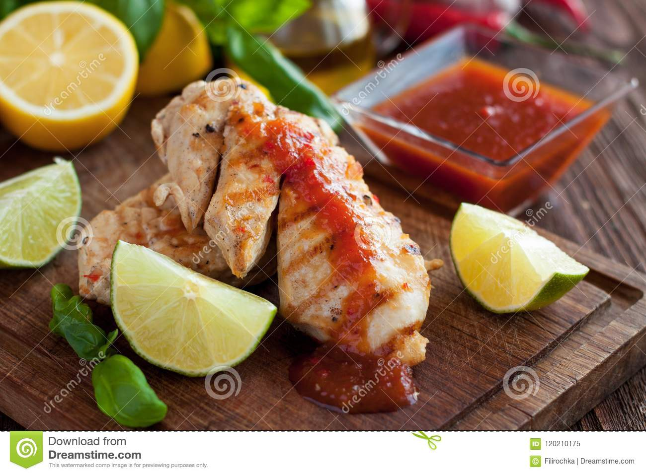 Barbecued chicken fillet with spicy sauce