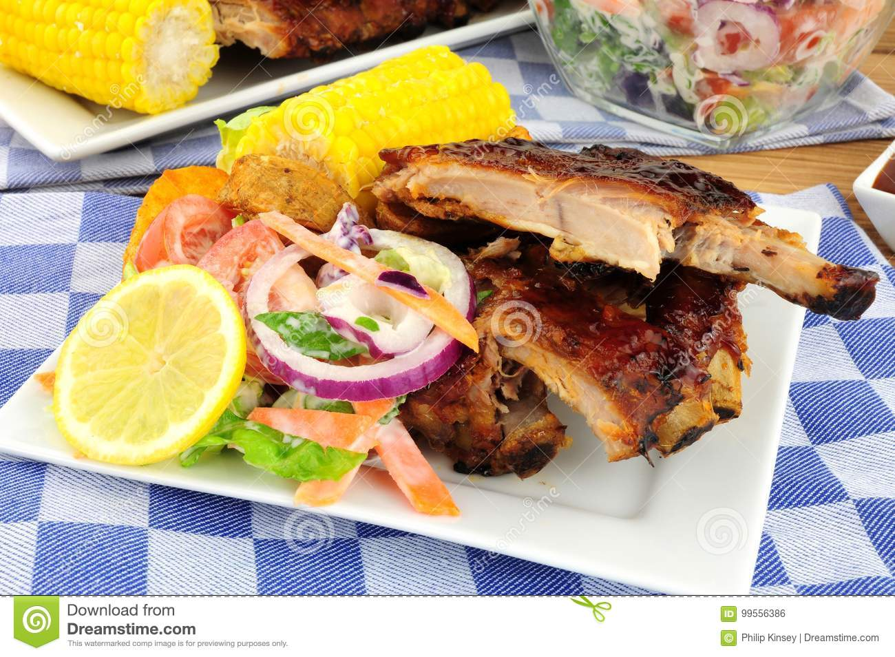 Barbecued Pork Ribs Meal