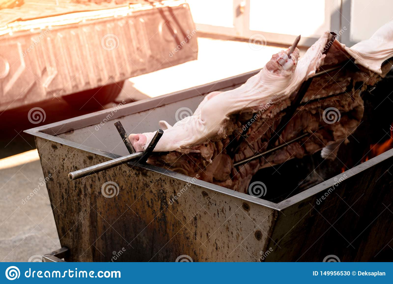 Barbecued suckling pig or Roasted suckling pig