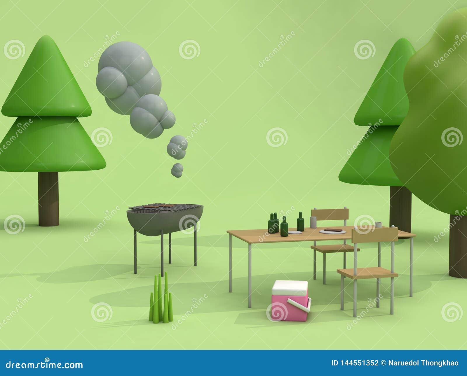 Barbecuepicknick in het groene de stijl van het het conceptenbeeldverhaal van de parken openluchtzomer 3d teruggeven