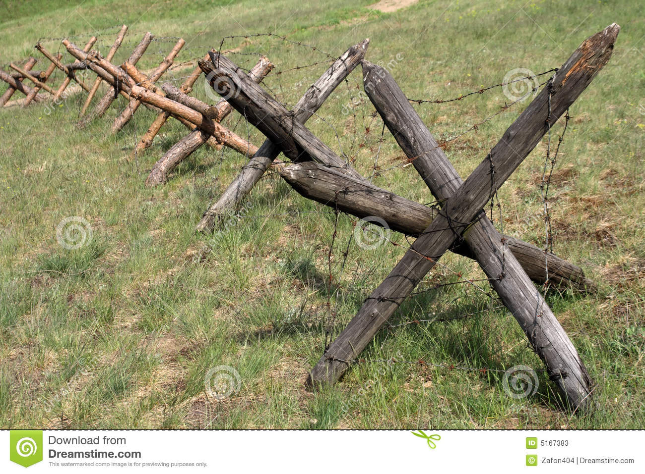 Barbed wire barrier stock image of secure security
