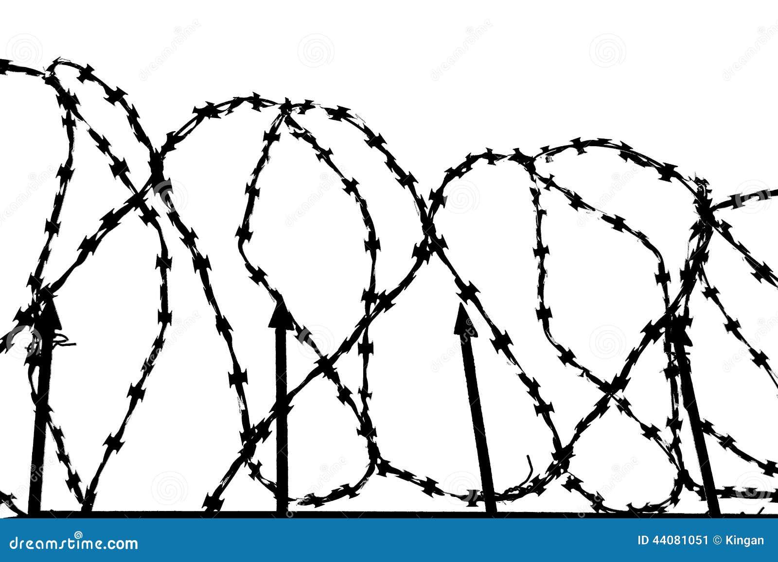 Barbed wire barrier stock illustration. Illustration of crime - 44081051