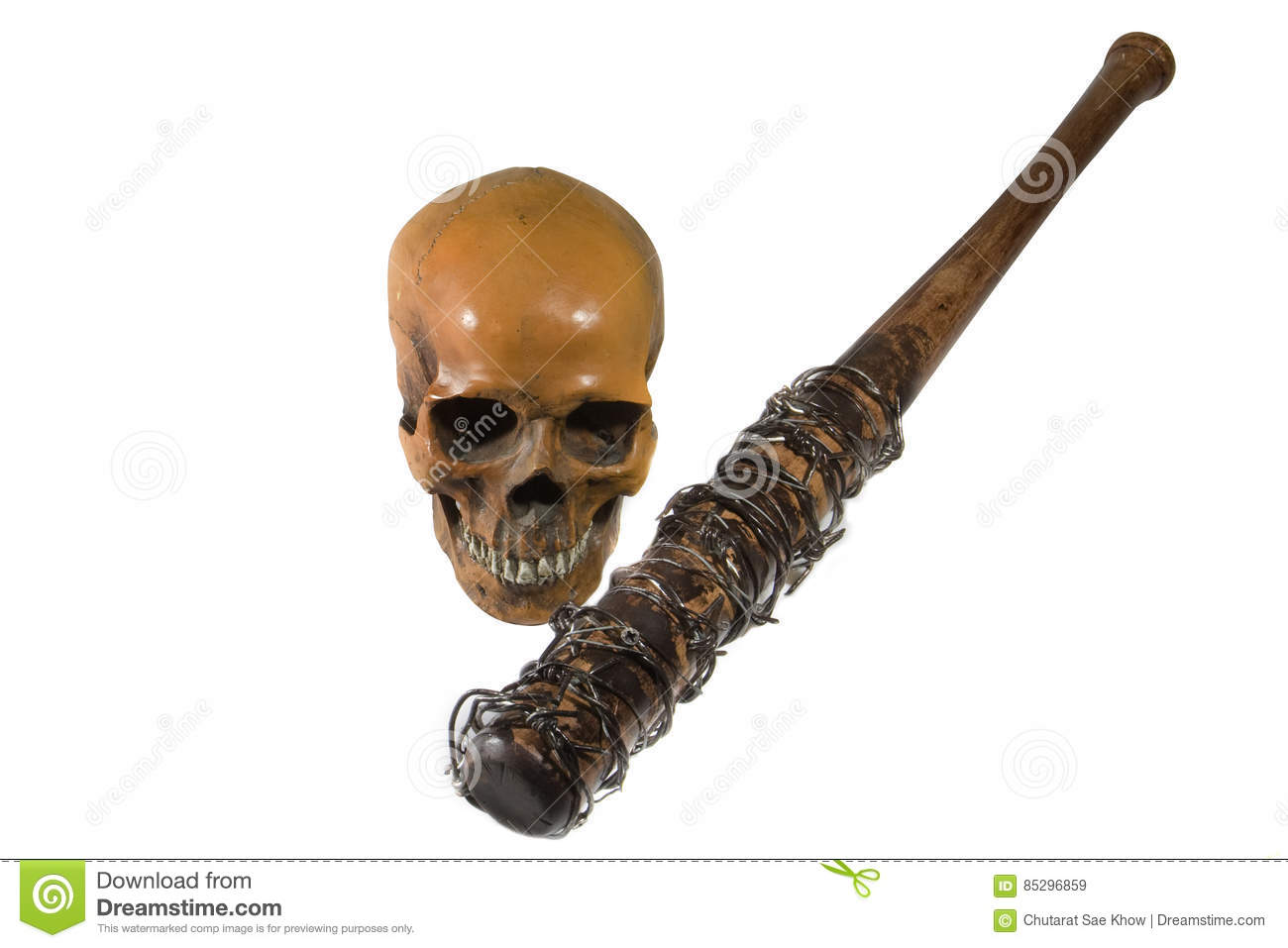 Baseball Bat With Barbed Wire Royalty Free Cartoon