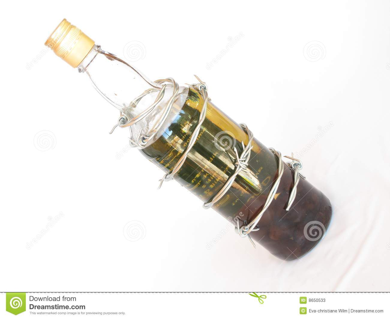 Barbed Wire Around Bottle Of Spirits Stock Image Image
