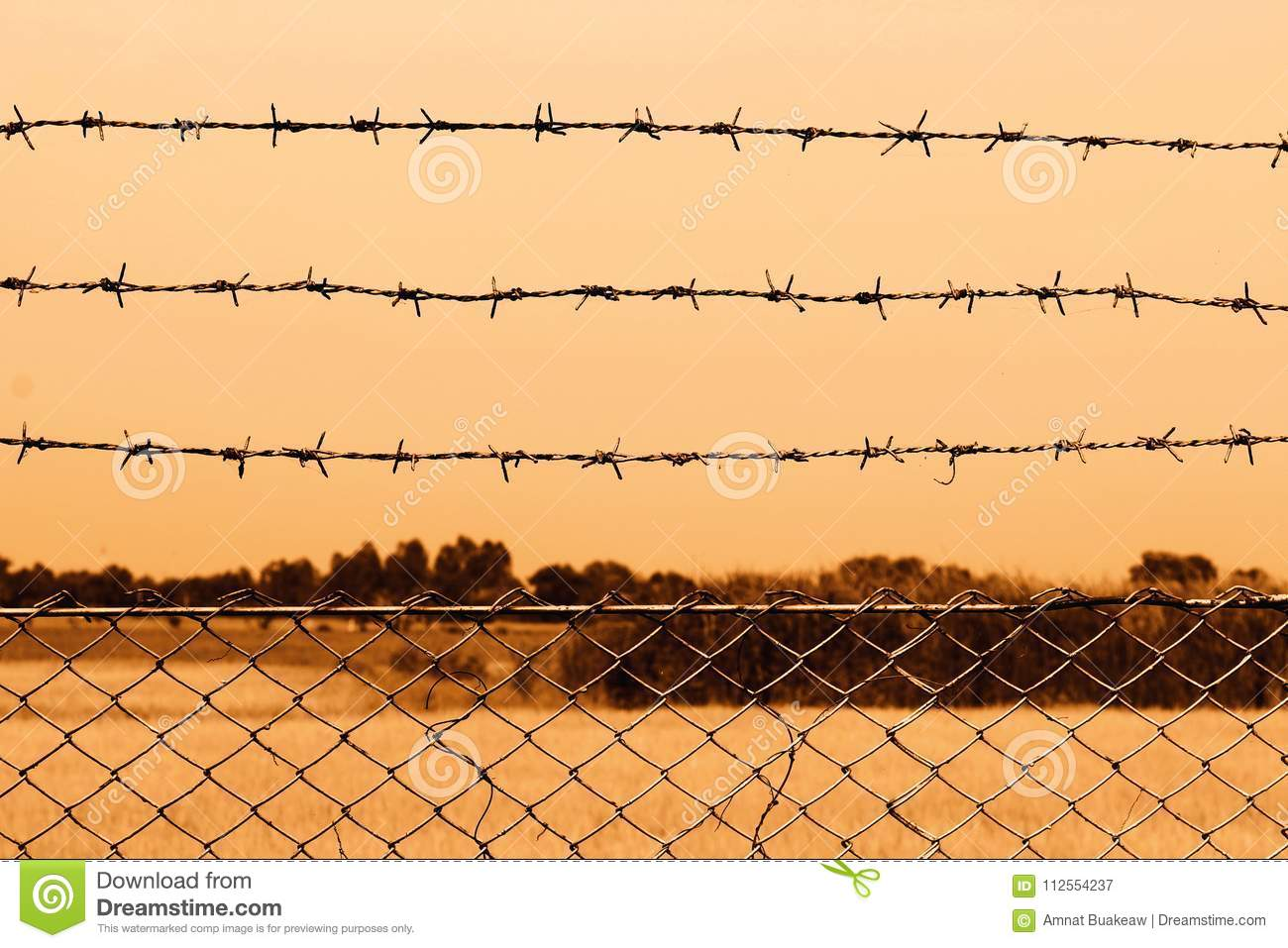 Barbed Wire Detention Center At Countryside And Background Sepia ...