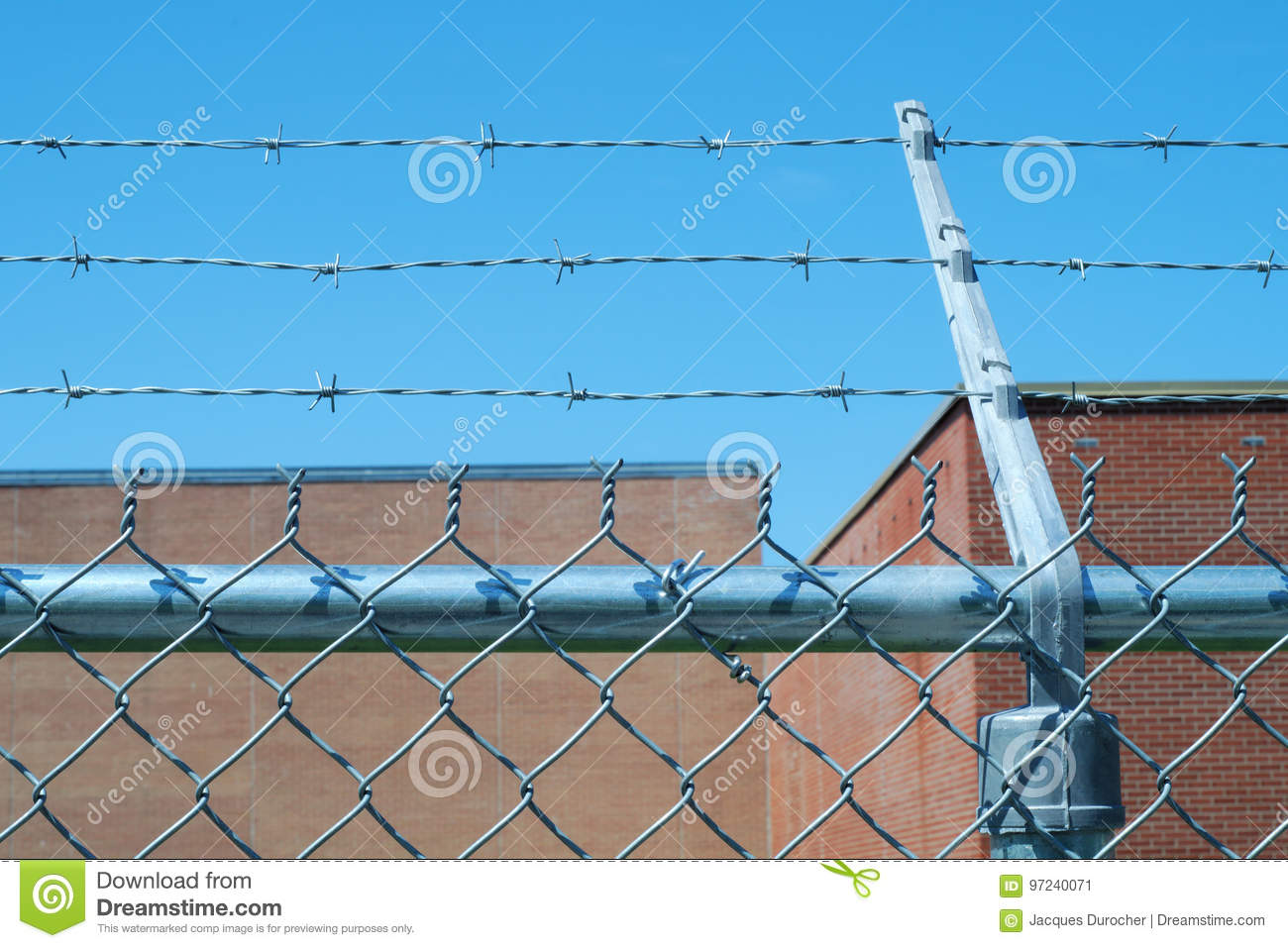 Barbed Wire Fence Forbidden Prohibited Boundary Security Stock Image ...