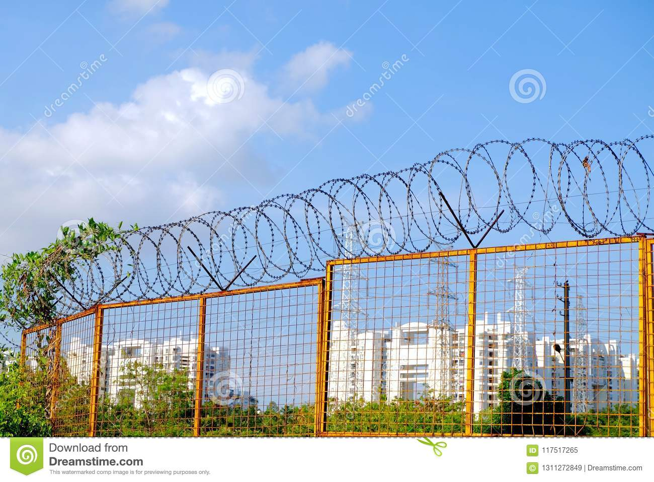Barbed wire fence stock image. Image of column, line - 117517265