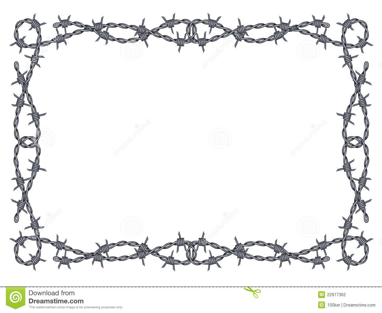 Barbed wire vector brush - Barbed Frame Isolated Pattern White Wire