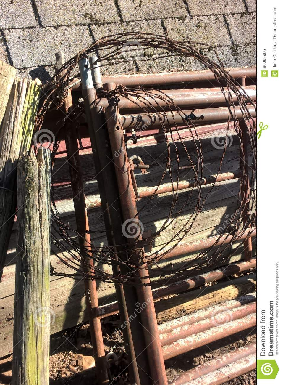 Barbed Wire Stock Photo Image Of Post Wood Faded Farm