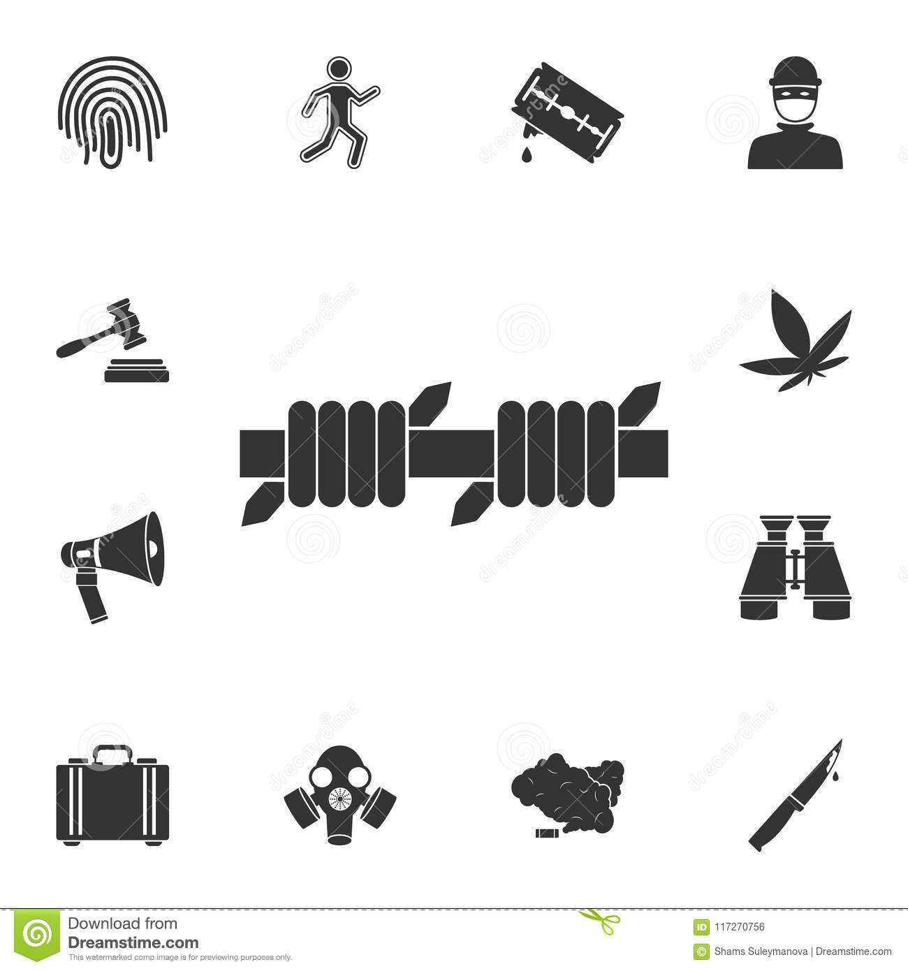 Barbed Wire Icon. Simple Element Illustration. Barbed Wire Symbol ...
