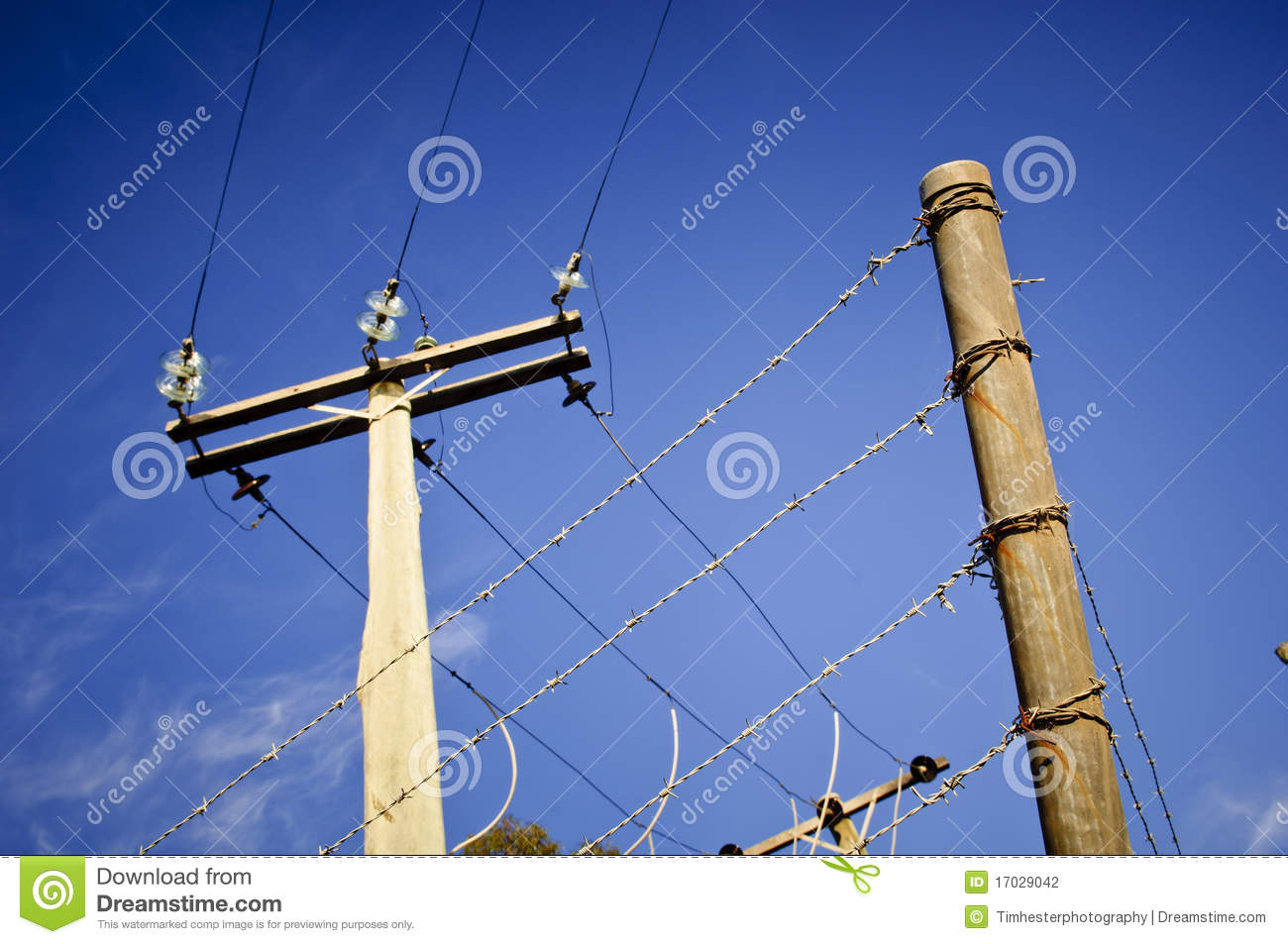 Barbed wire power line stock photography image