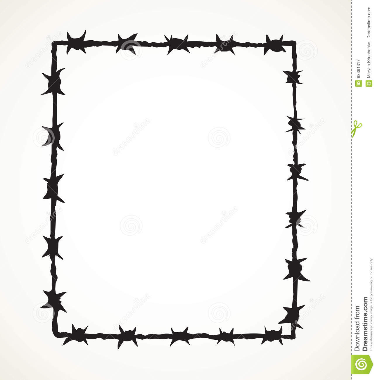 Barbed Wire. Vector Drawing Stock Vector - Illustration of iron ...