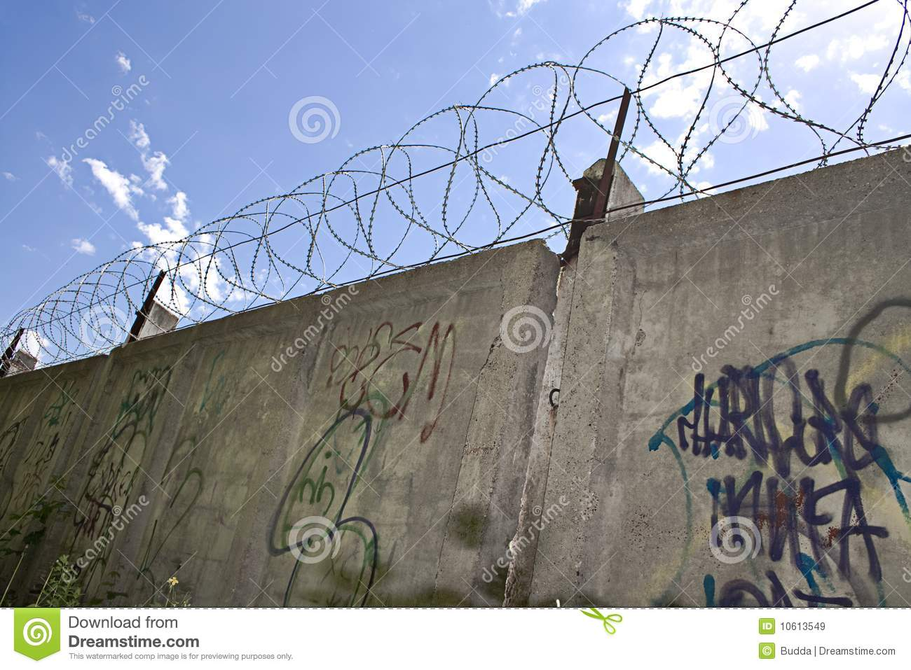 Barbed wire wall stock image of background danger