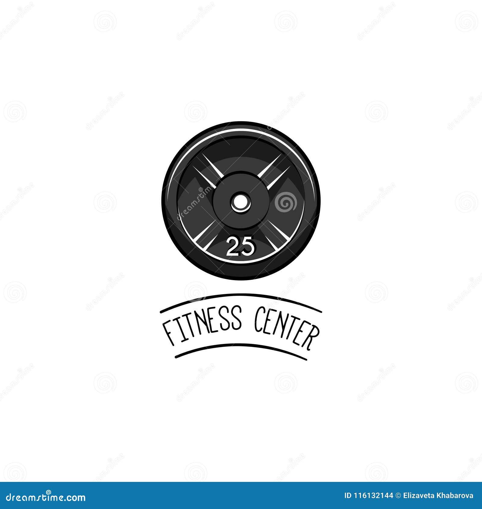 Barbell dyska ikona Bodybuilding loga etykietka Sporta szkolenie, sprawność fizyczna Talerzowy ciężar wektor