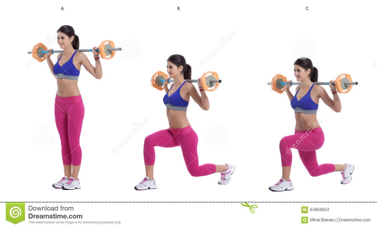 Barbell Lunges Stock Photo Image Of Fitness Slim
