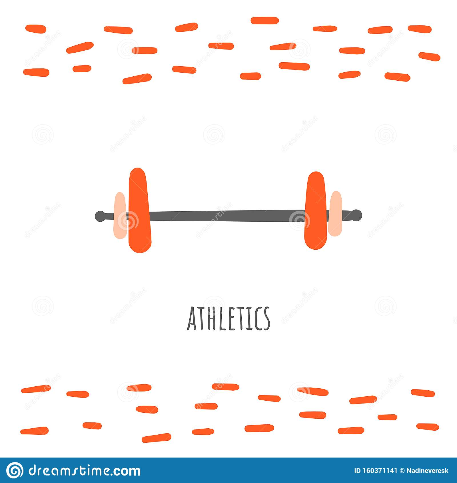 Barbell Sport Doodle Card Postcard Tag Cover Background With Text Stock Vector Illustration Of Cartoon Icon 160371141