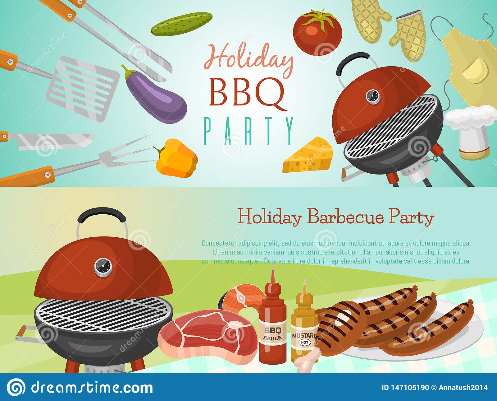 Barbeque picnic party banner meat steak roasted on round hot barbecue grill vector illustration. Bbq in park, banner