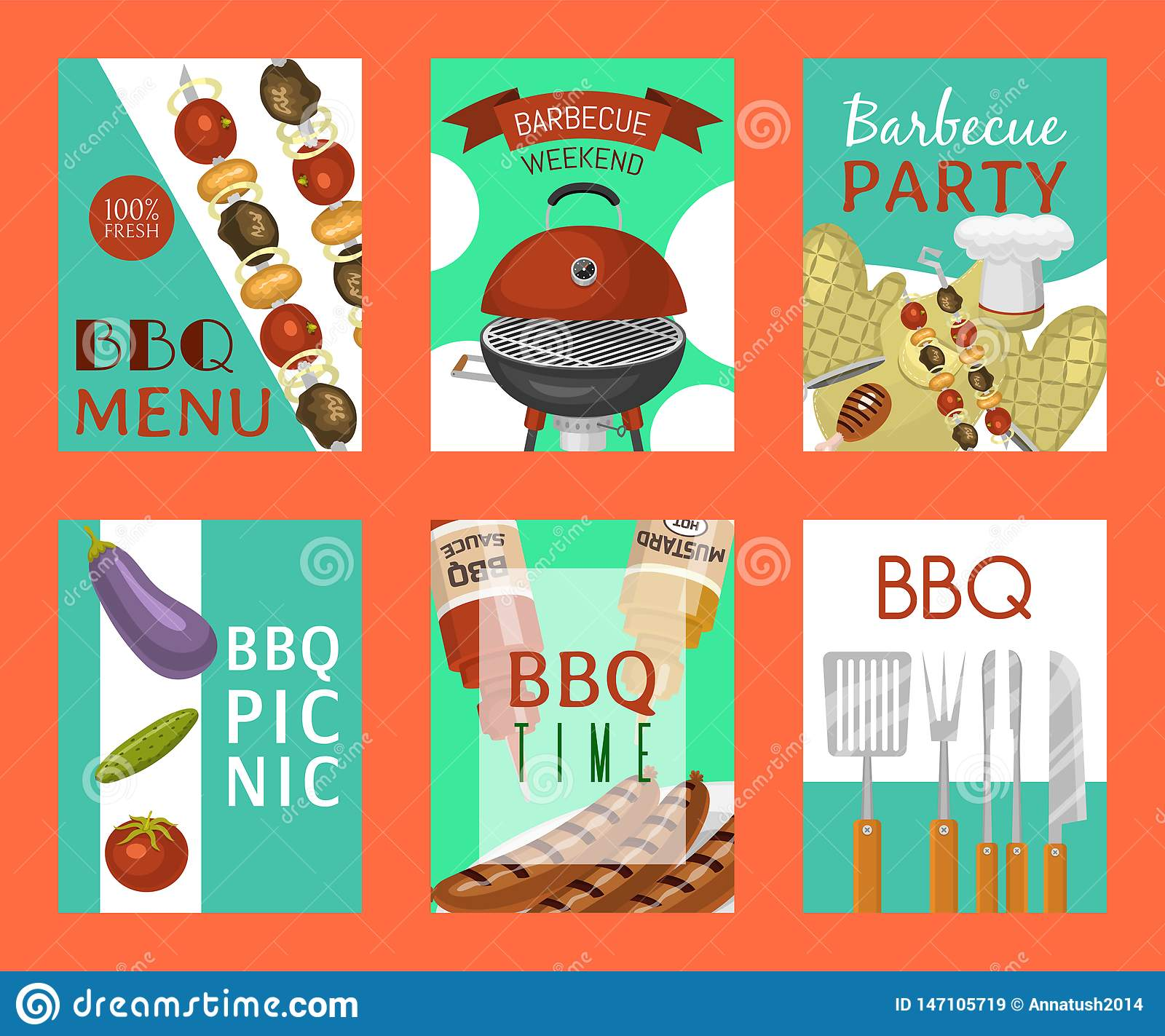 Barbeque picnic party cards meat steak roasted on round hot barbecue grill vector illustration. Bbq in park, banner