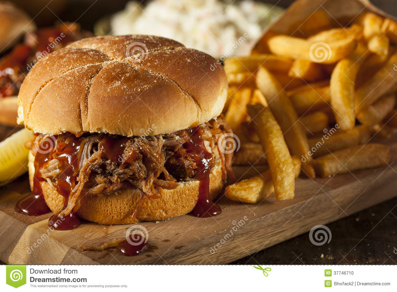 Barbeque Pulled Pork Sandwich Stock Photo - Image of ...
