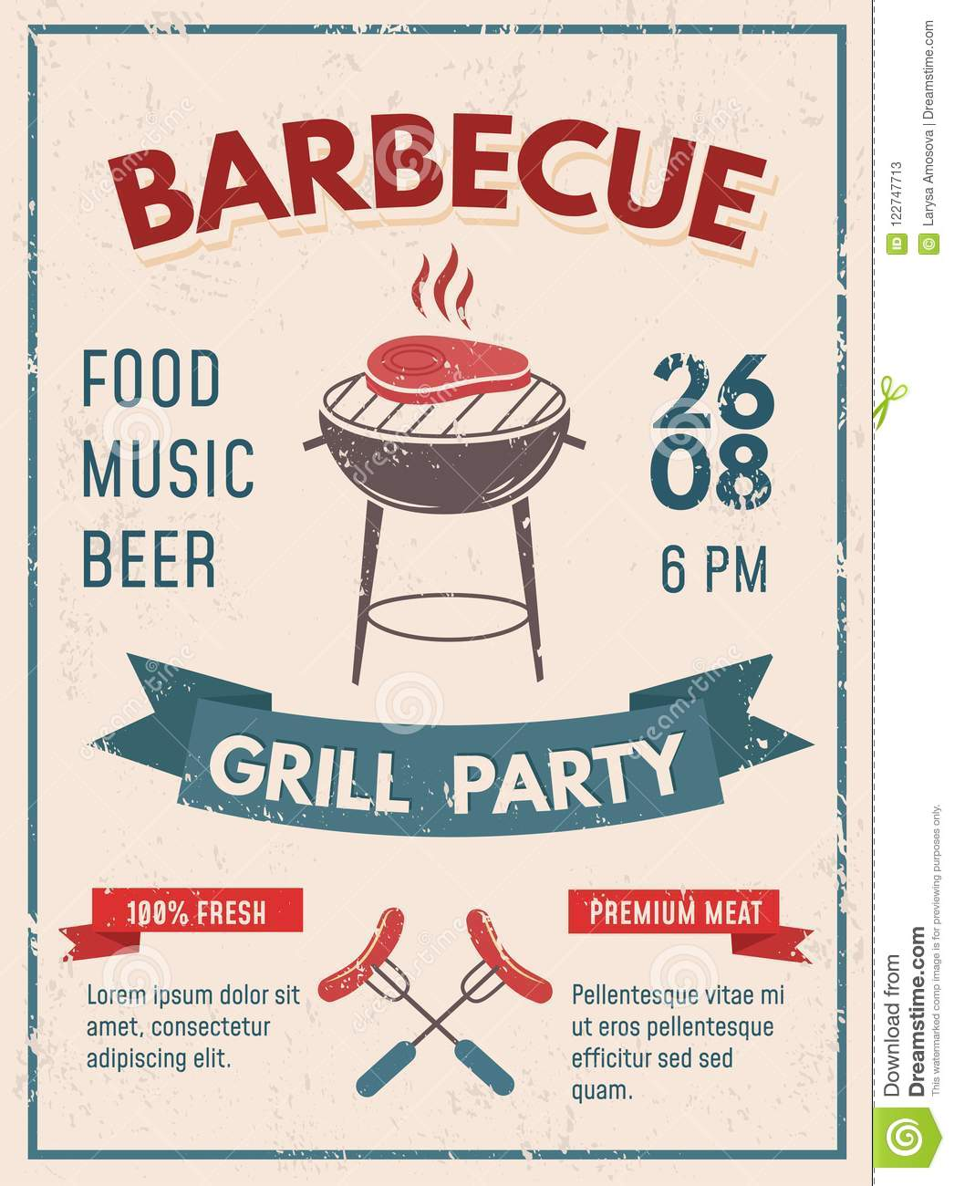 barbeque retro poster with grunge effect bbq party invitation d