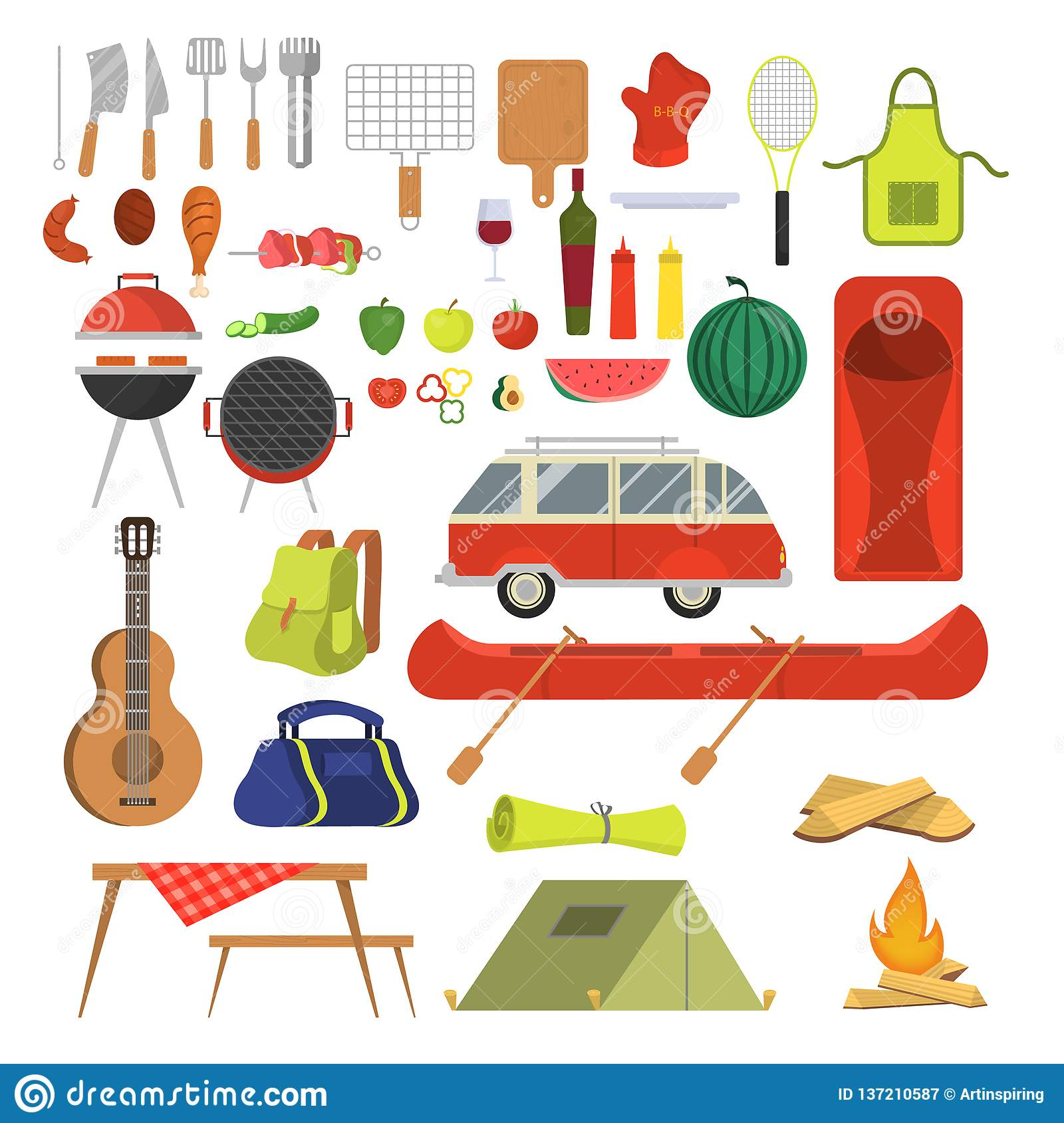 Barbeque set. Collection of equipment for bbq and camping