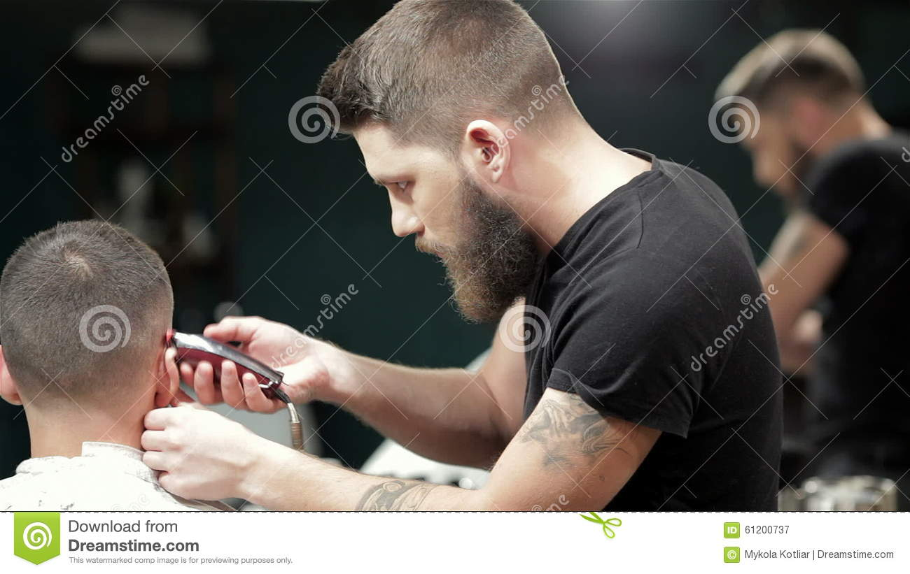 Barber Cutting Bearded Brutal Man, Reflection In Stock Video
