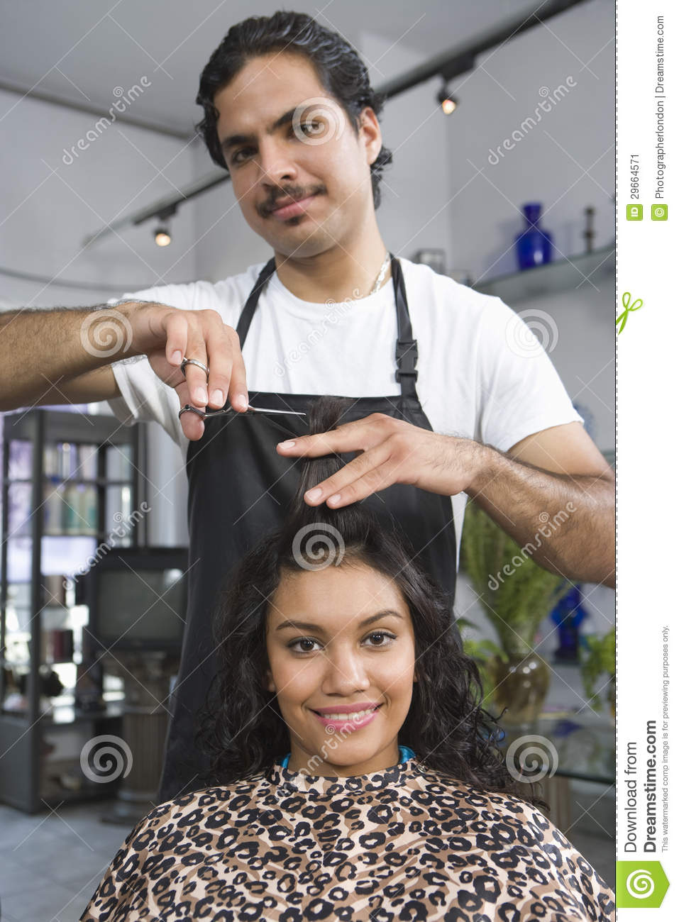 Barber Cutting Woman S Hair Stock Image - Image of sitting, people
