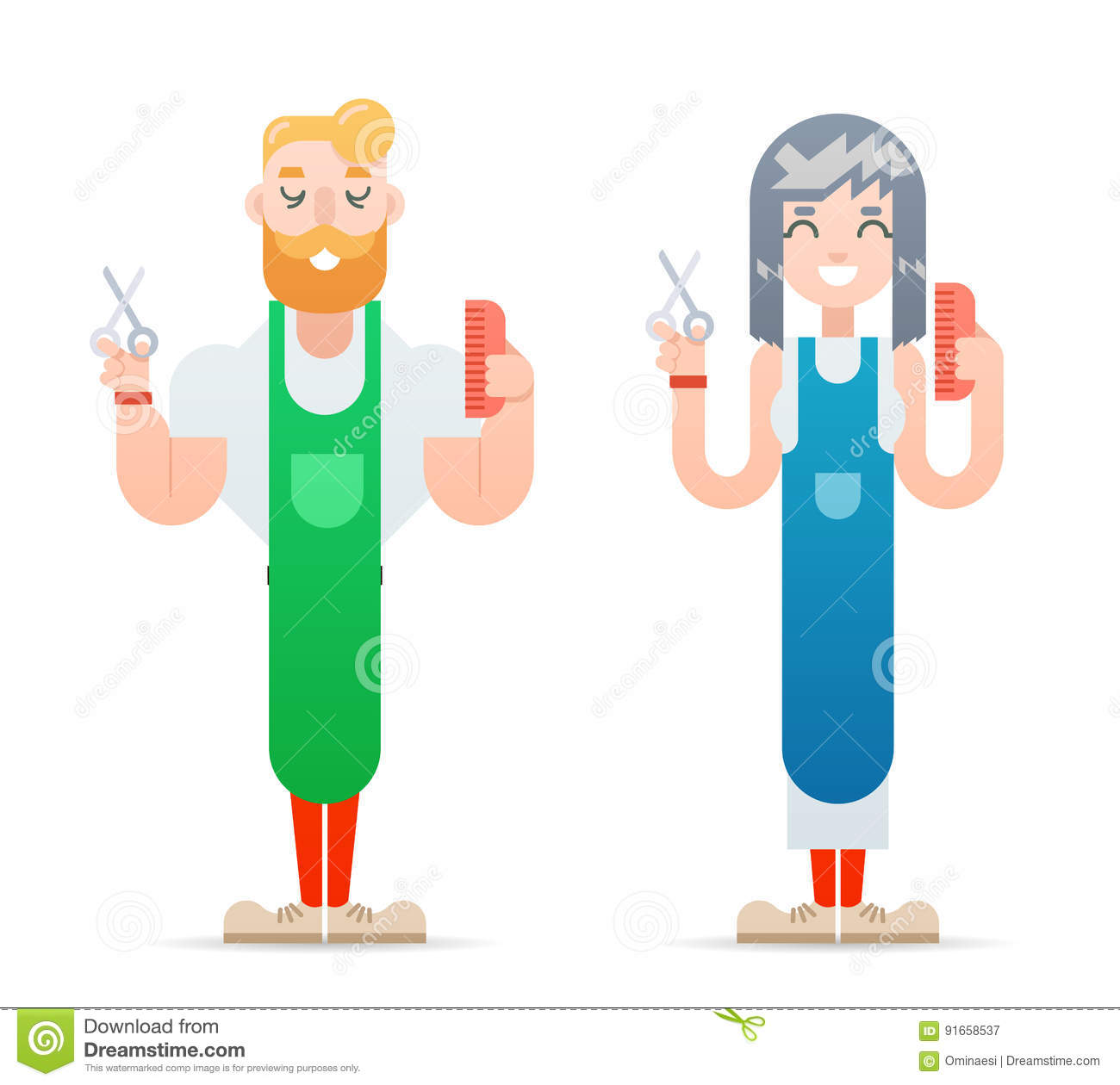 Hairdresser Man And Woman Scissors Concept Vector -6259