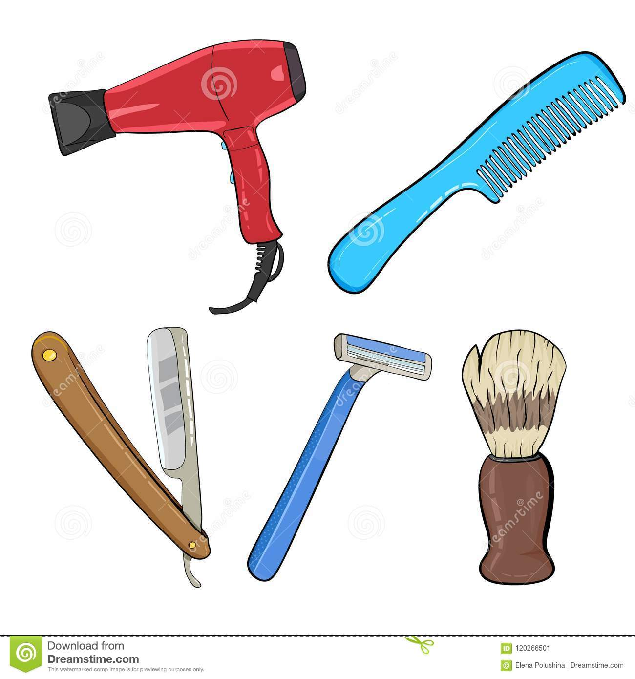 Barber Icon Set With Hairdresser Work Tools And Mens Hairstyles ...