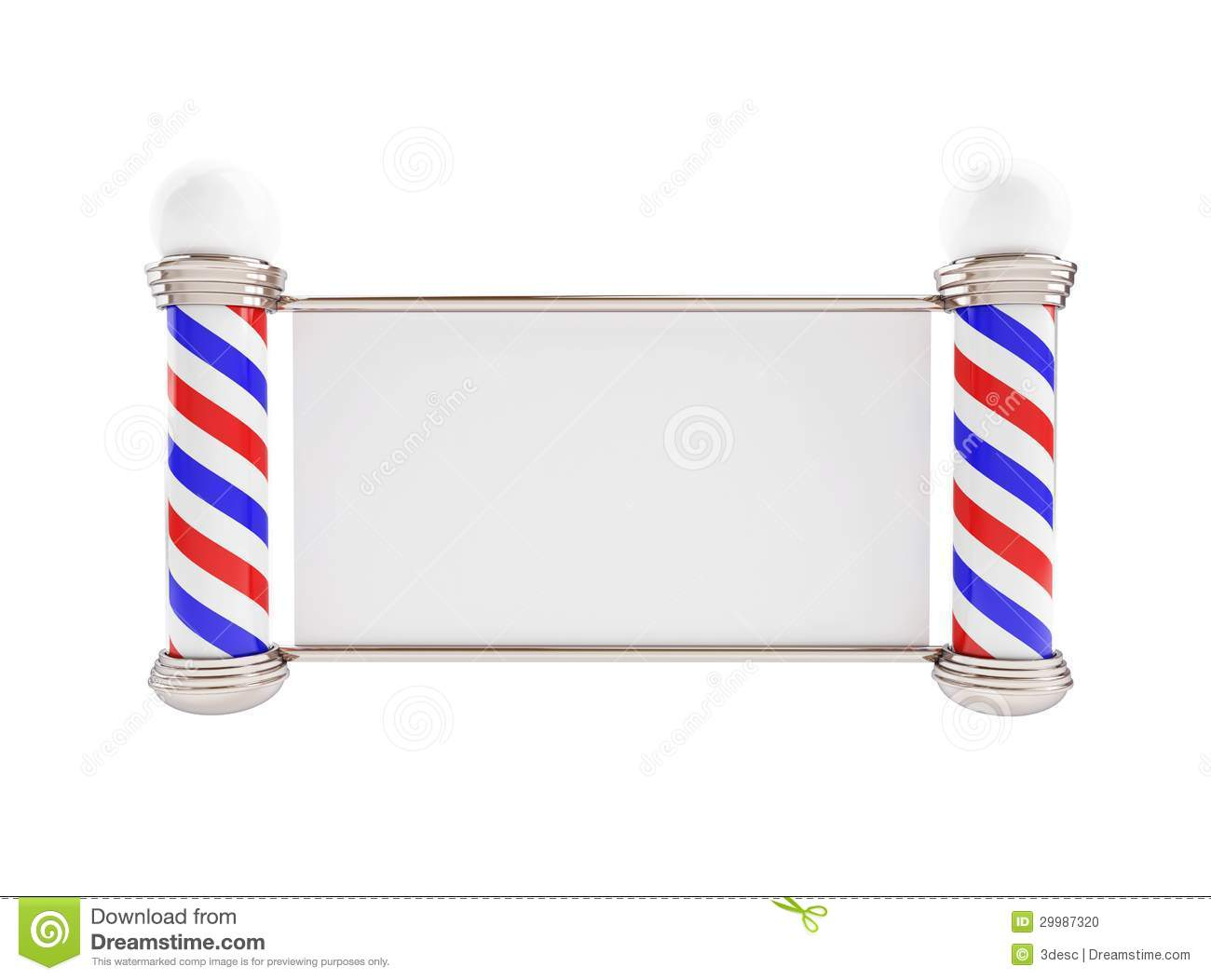 Barber Background : Barber Pole On A White Background Stock Photo - Image: 29987320