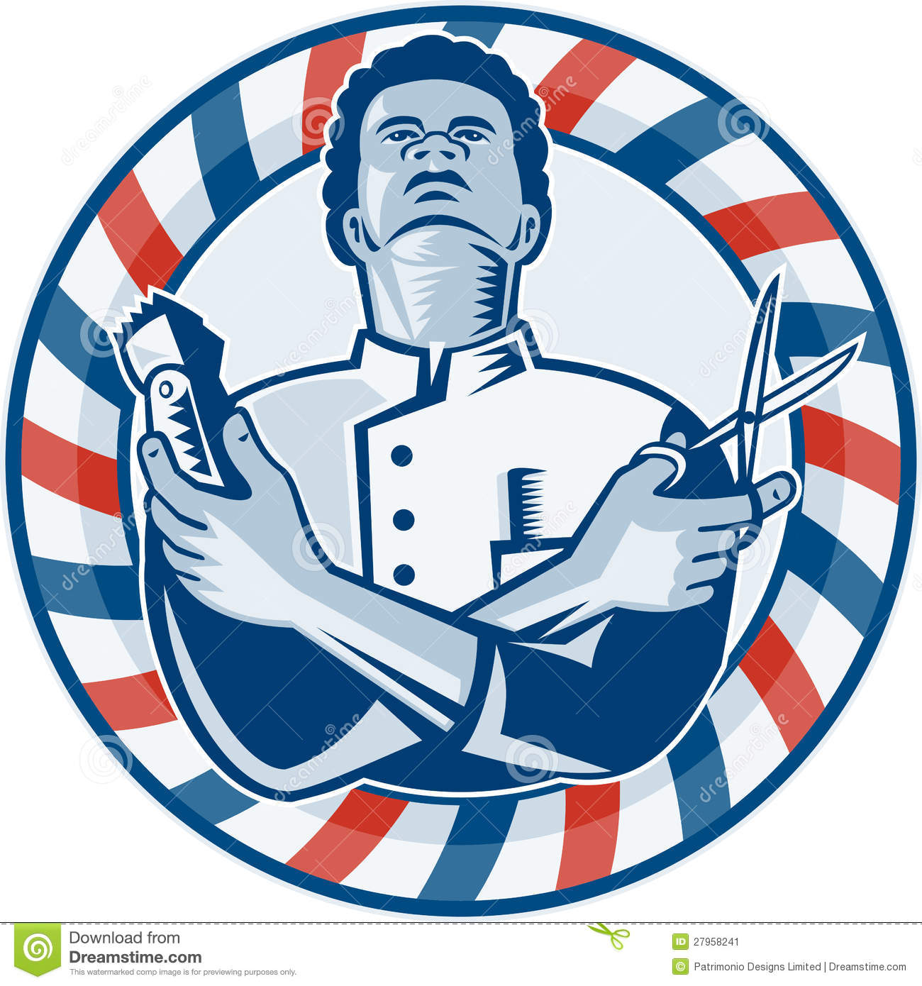 African American Barber Clipart