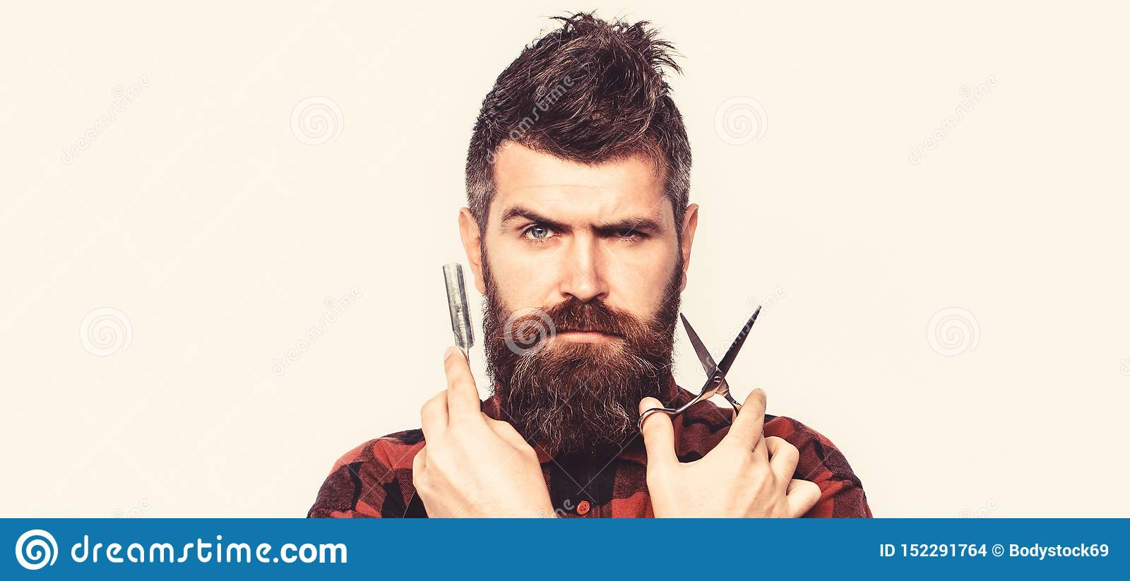 Barber scissors and straight razor, barber shop. Vintage barbershop, shaving. Mustache men. Beard macho man. Brutal guy