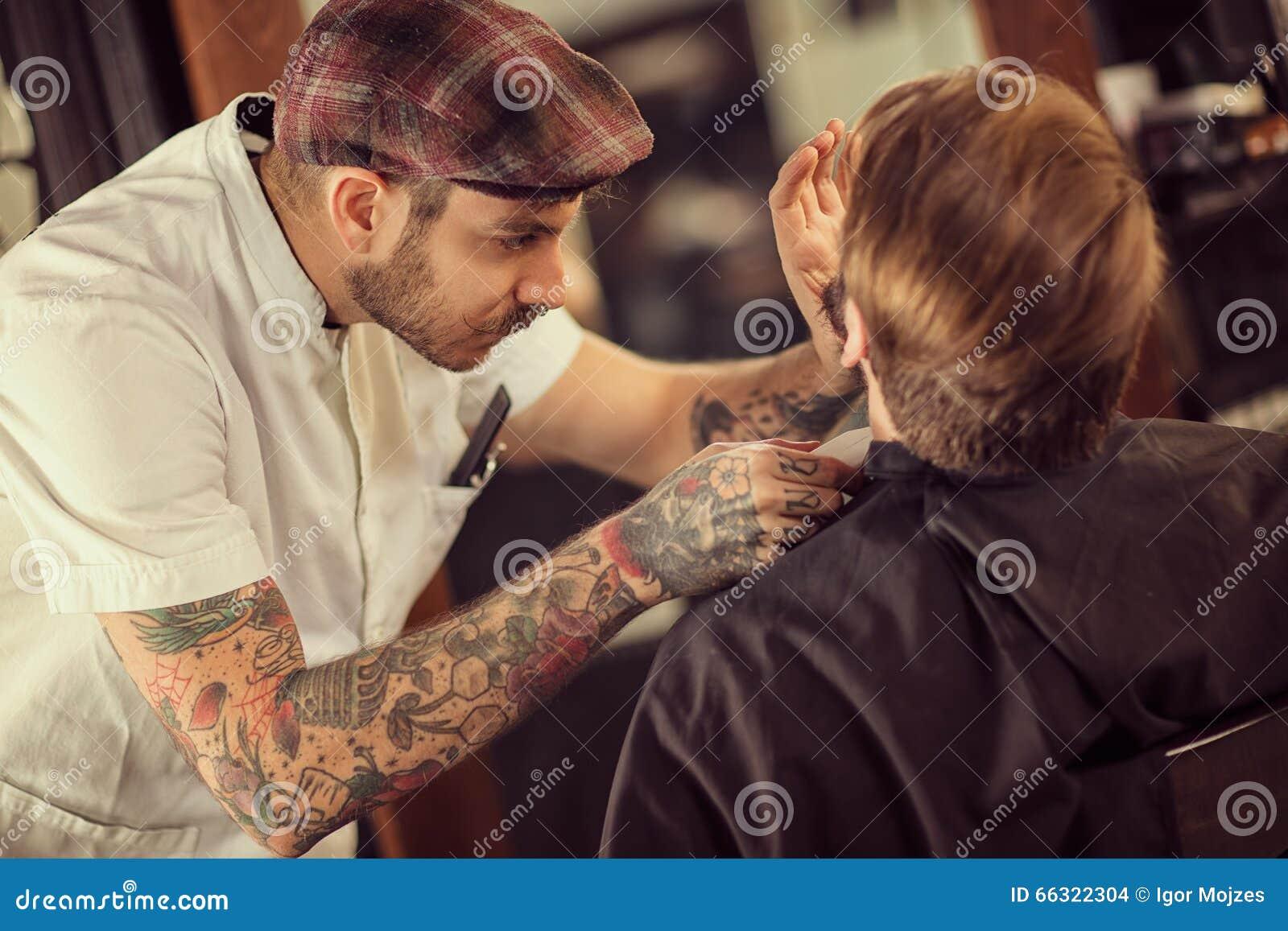 barber shaving beard stock photo image 66322304. Black Bedroom Furniture Sets. Home Design Ideas