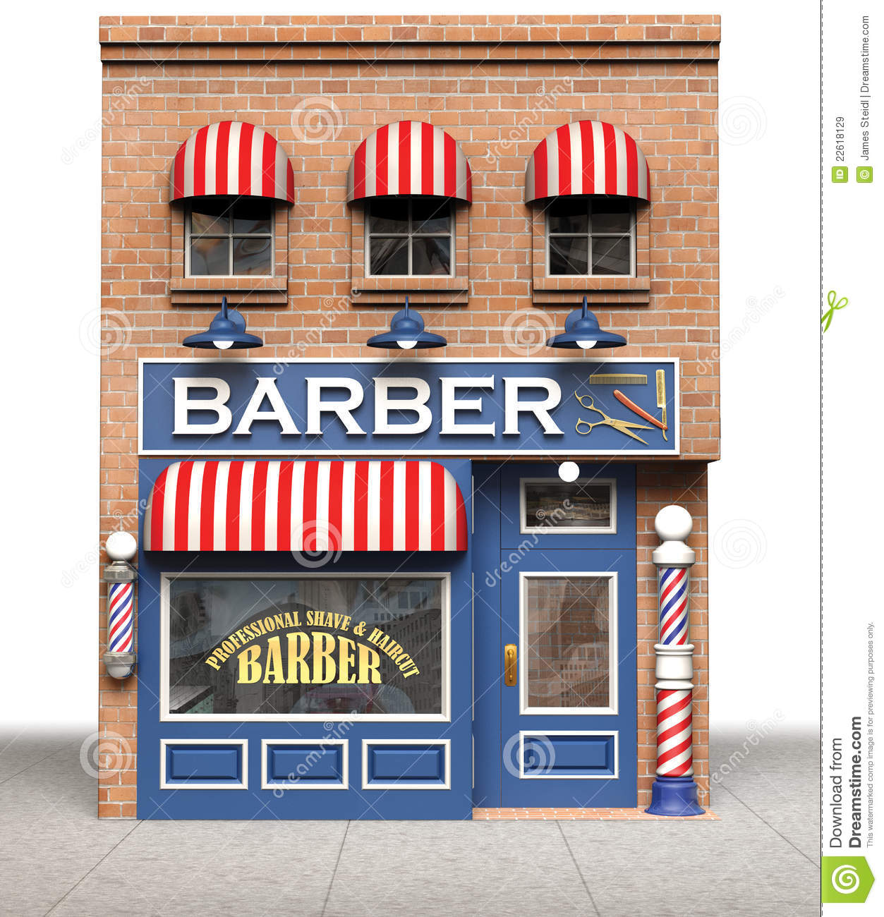 Barbershop isolated on a white background.