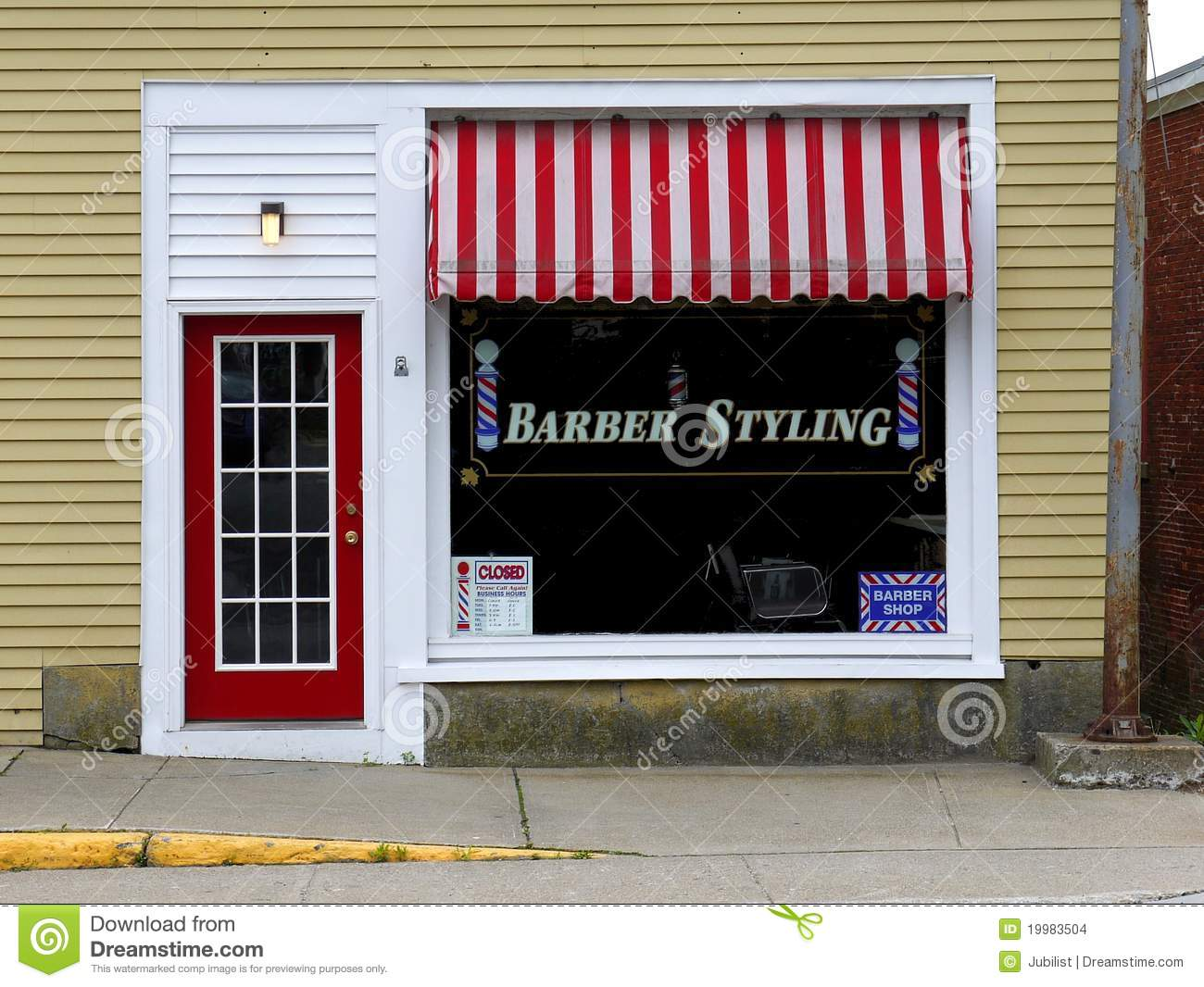 Old barber shop window - Small Business Barber Shop Front Stock Images