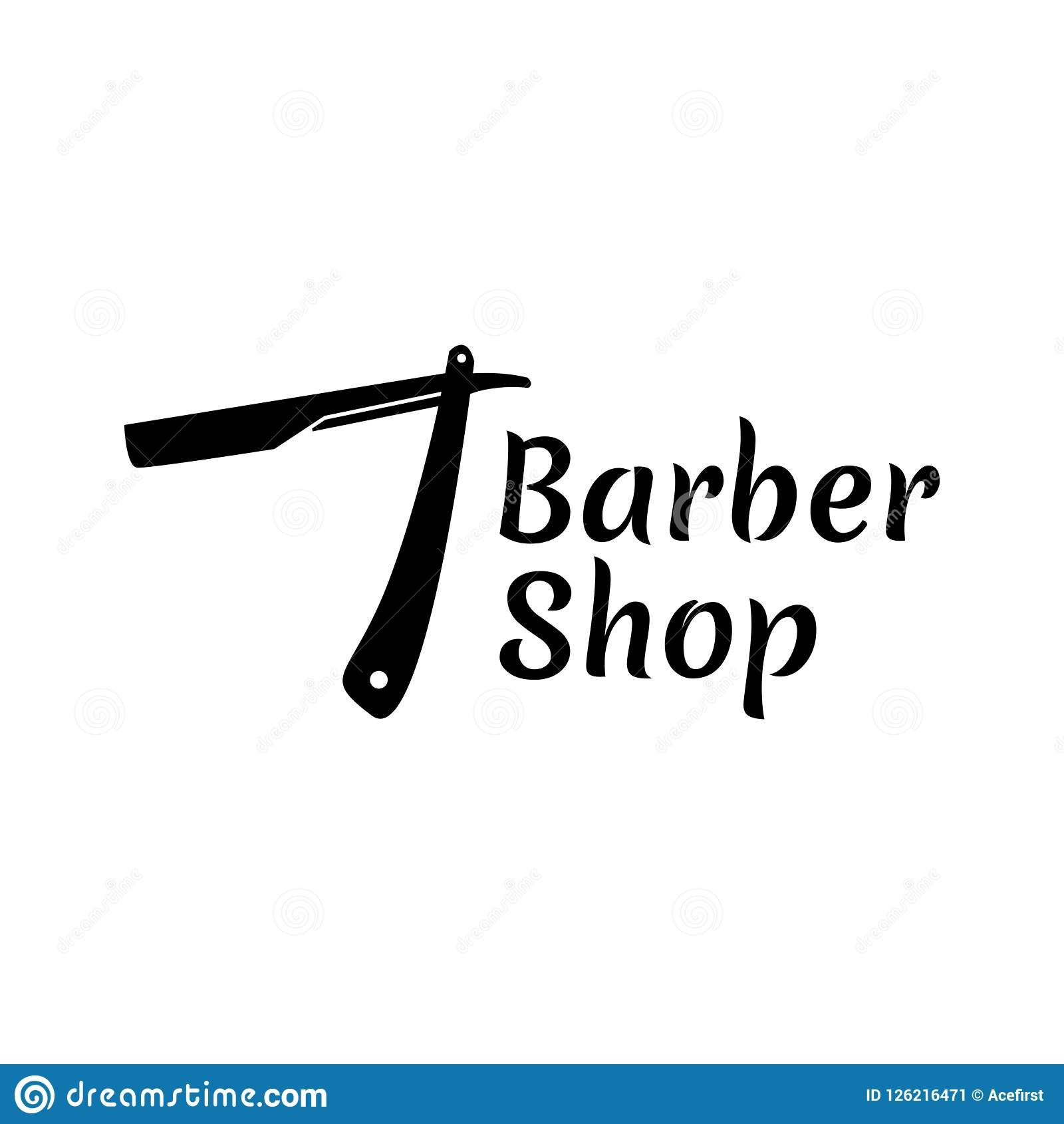 Barber Shop Hair Cut Logo Template Stock Vector Illustration Of