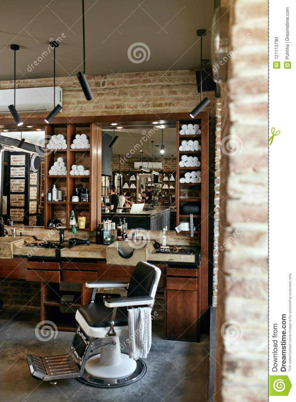 Barber Shop Interior Men Beauty Hair Salon With Antique Chair Stock
