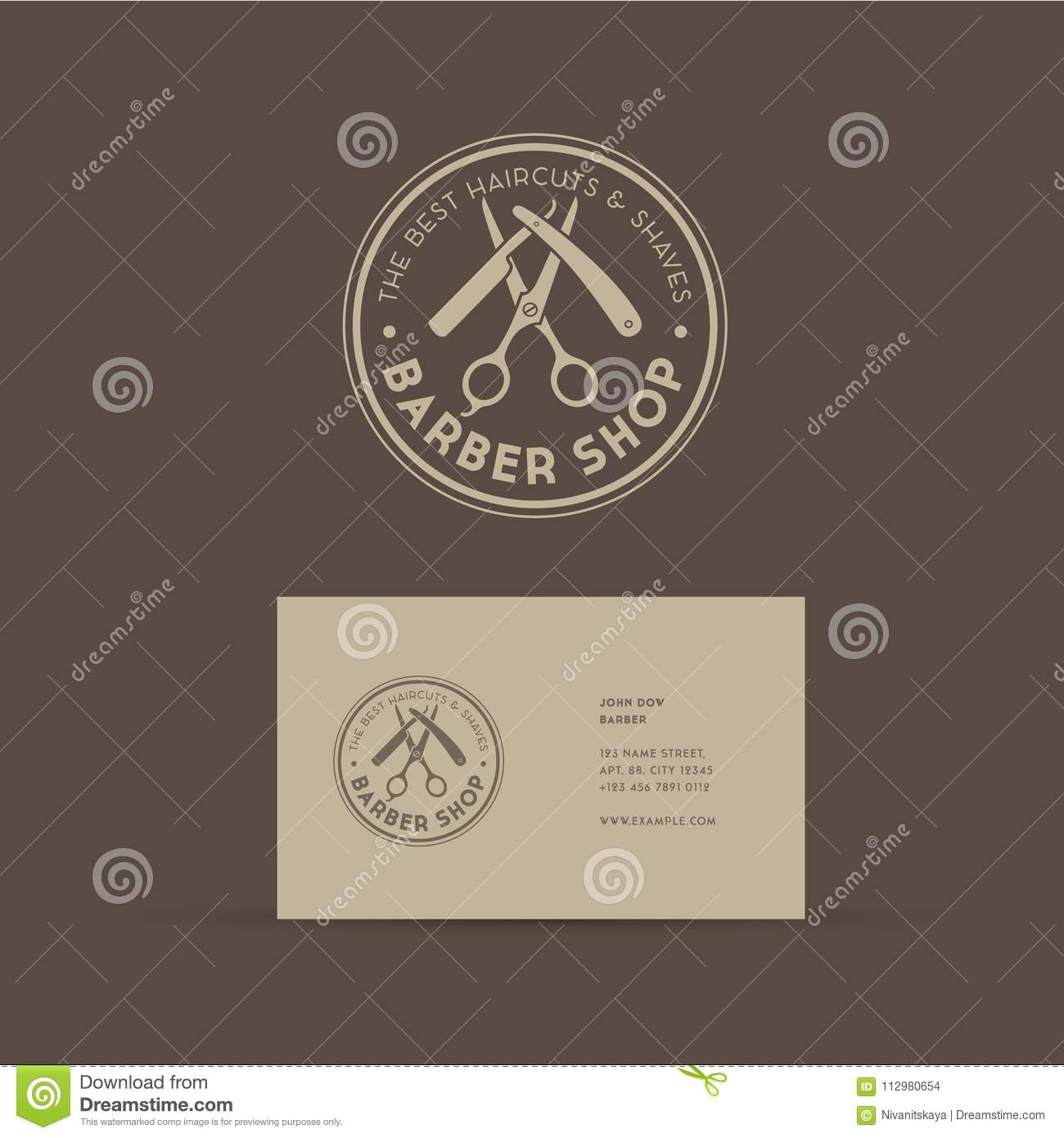 Barber shop logo. Scissors and a razor with letters as an emblem.