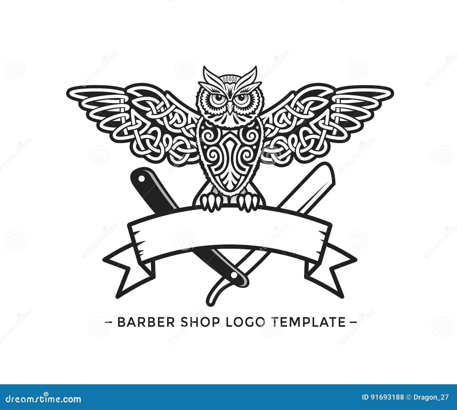 Barber Shop Logo Template Celtic Owl Vector Illustration