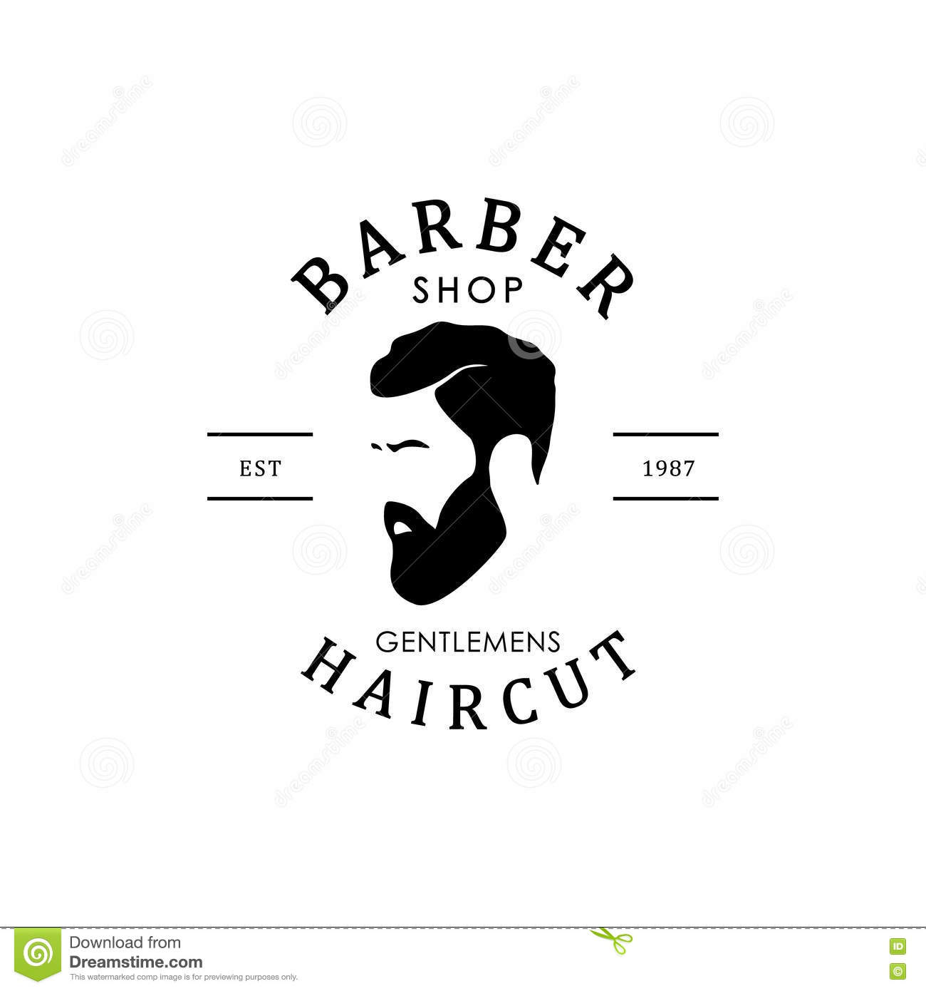 barber shop logo stock vector image of label hair