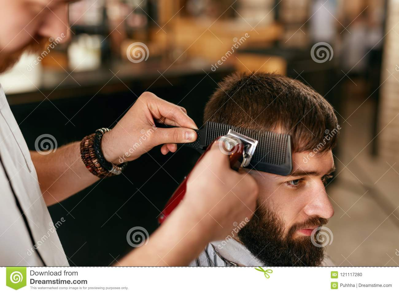 Barber Shop Men Hair Cut Barber Doing Men Fashion Hairstyle Stock Photo Image Of Client People 121117280