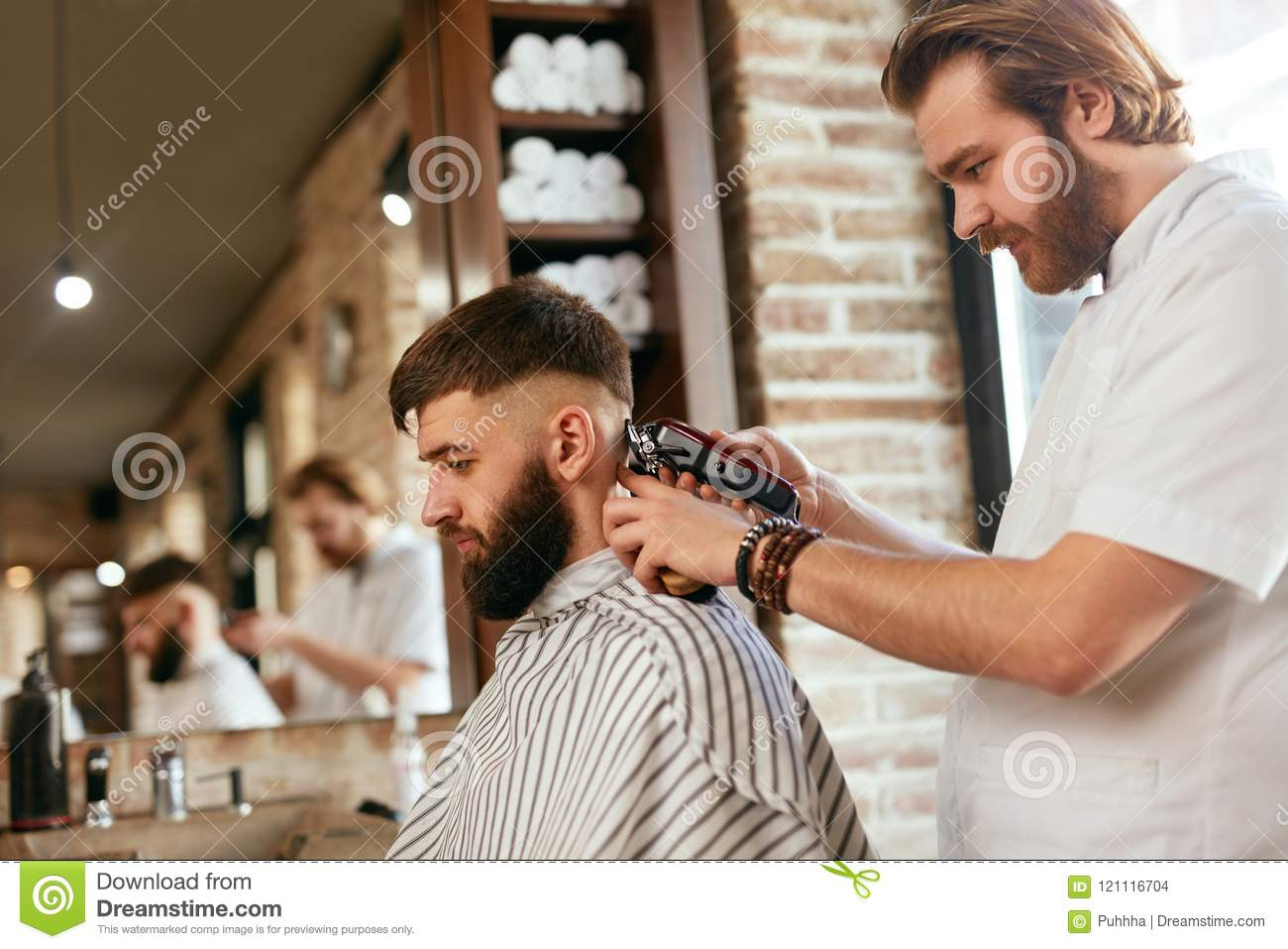 Barber Shop Men Hair Cut Barber Doing Men Fashion Hairstyle