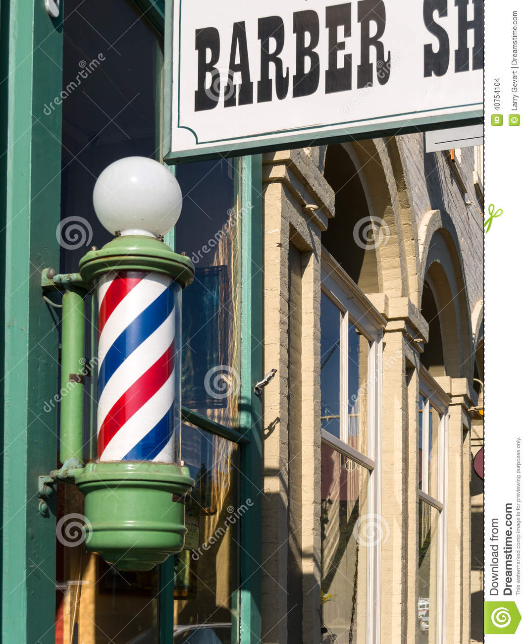 Barber Shop pole and sign