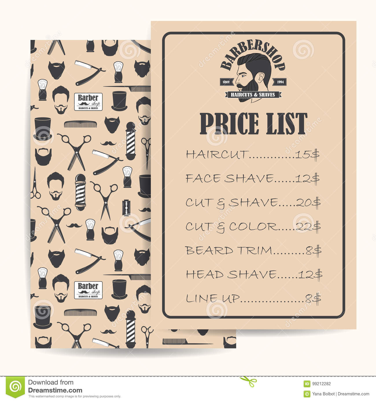 barber shop price or brochure list with prices at the hairstyles and