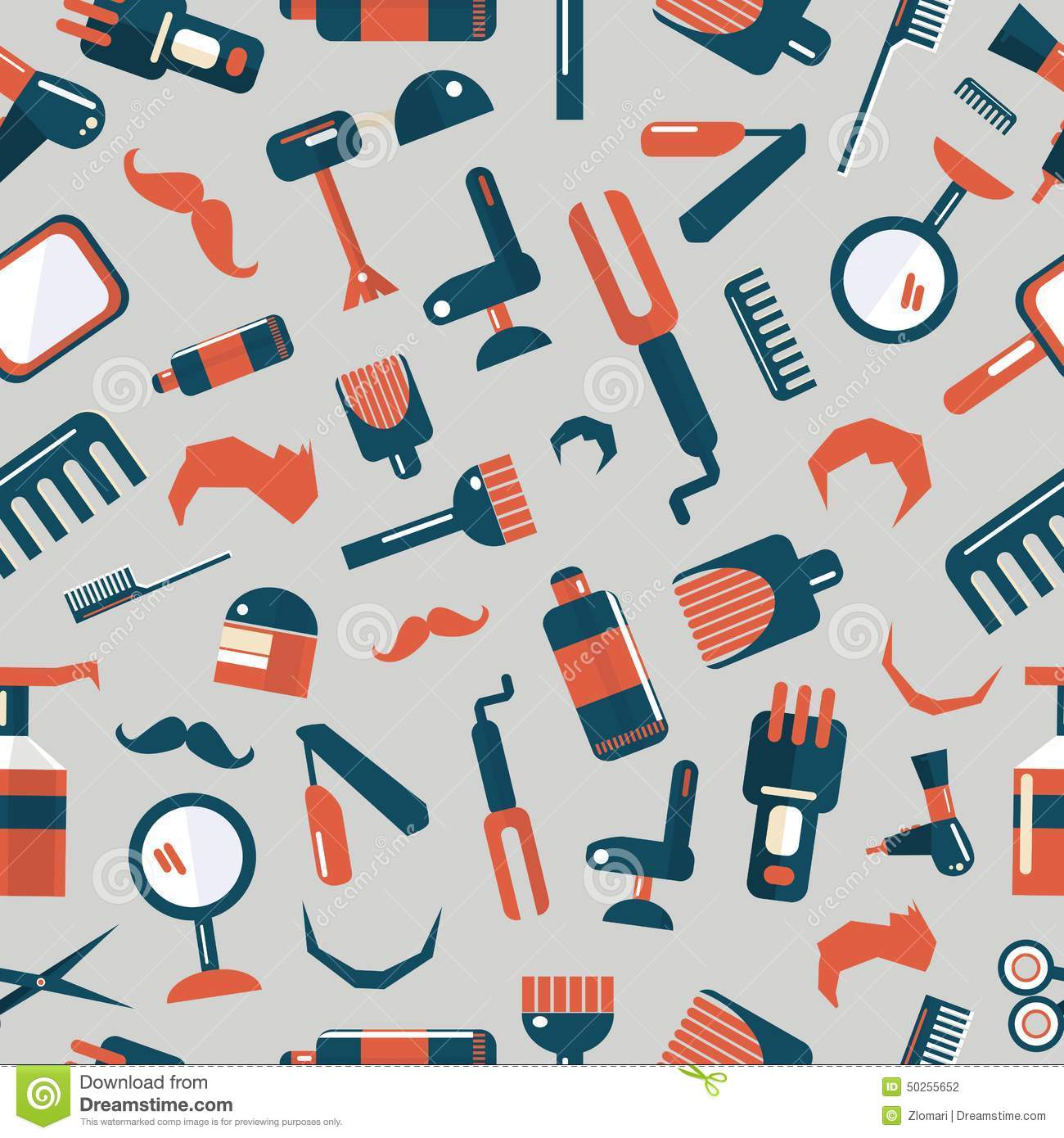 Barber Background : Barber shop seamless pattern on a gray background.