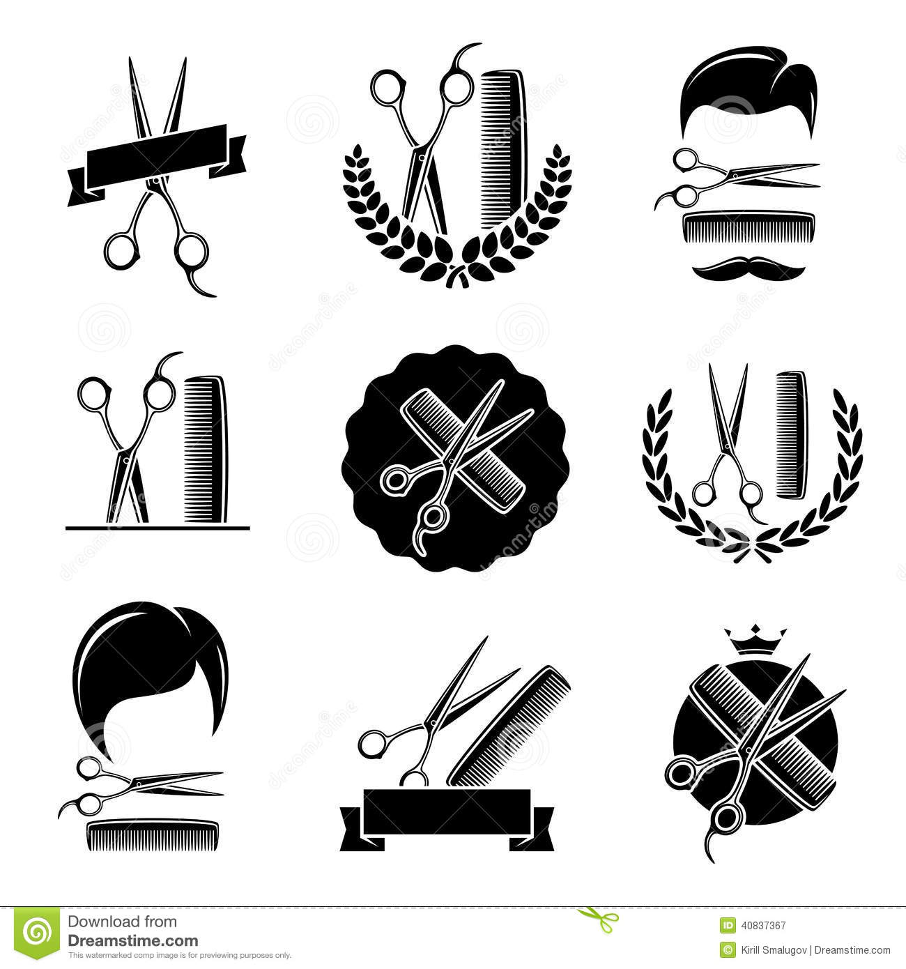 Barber Vector : Barber shop set. Vector illustration barber, shop, hair, comb.